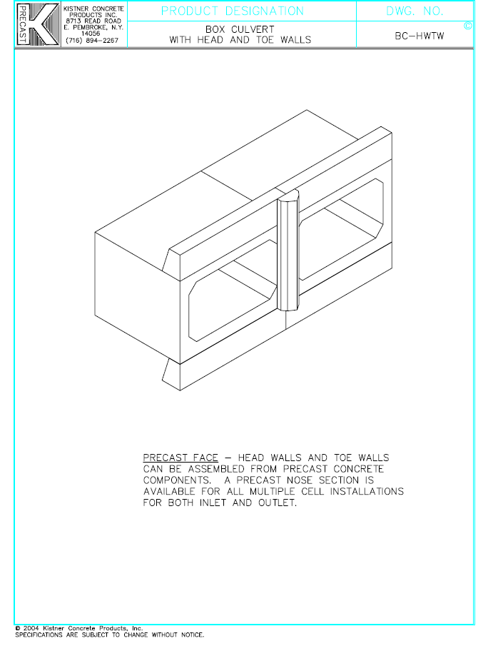 Box Culvert Head and Toe Walls - Kistner Concrete Inc